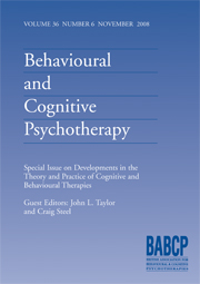 Behavioural and Cognitive Psychotherapy Volume 36 - Special Issue6 -  Developments in the Theory and Practice of Cognitive and Behavioural Therapies