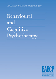 Behavioural and Cognitive Psychotherapy Volume 37 - Issue 5 -