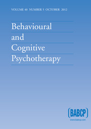 Behavioural and Cognitive Psychotherapy Volume 40 - Issue 5 -