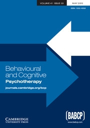 Behavioural and Cognitive Psychotherapy Volume 41 - Issue 3 -