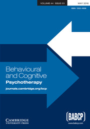 Behavioural and Cognitive Psychotherapy Volume 44 - Issue 3 -