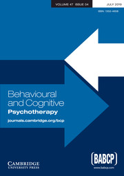 Behavioural and Cognitive Psychotherapy Volume 47 - Issue 4 -