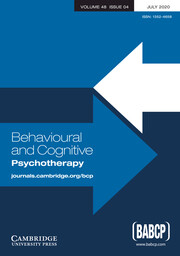 Behavioural and Cognitive Psychotherapy Volume 48 - Issue 4 -