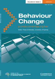 Behaviour Change Volume 29 - Issue 2 -