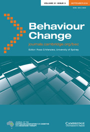 Behaviour Change Volume 31 - Issue 3 -