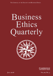 Business Ethics Quarterly Volume 26 - Issue 3 -