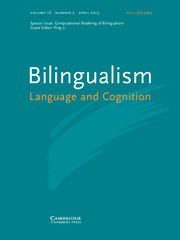 Bilingualism: Language and Cognition Volume 16 - Issue 2 -  Computational Modeling of Bilingualism