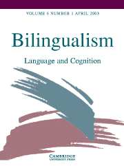 Bilingualism: Language and Cognition Volume 6 - Issue 1 -