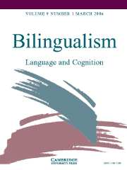 Bilingualism: Language and Cognition Volume 9 - Issue 1 -