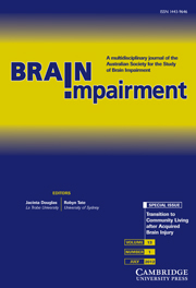Brain Impairment Volume 13 - Issue 1 -  Transition to Community Living after Acquired Brain Injury