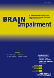 Brain Impairment Volume 14 - Issue 1 -  State of the art reviews in mental health after traumatic brain injury