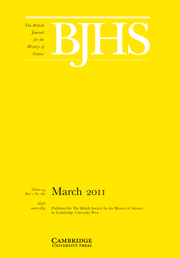 The British Journal for the History of Science Volume 44 - Issue 1 -