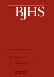 The British Journal for the History of Science Volume 45 - Issue 2 -  Special Issue: States of Secrecy