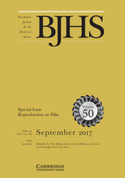 The British Journal for the History of Science Volume 50 - Special Issue3 -  Reproduction on Film