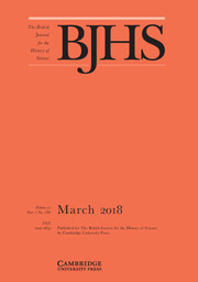 The British Journal for the History of Science Volume 51 - Issue 1 -