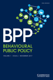 Behavioural Public Policy  Volume 1 - Issue 2 -