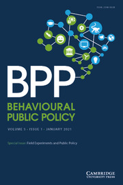 Behavioural Public Policy  Volume 5 - Special Issue1 -  Field Experiments and Public Policy