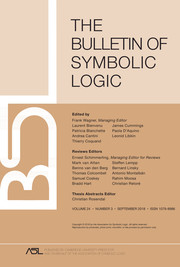 Bulletin of Symbolic Logic Volume 24 - Issue 3 -