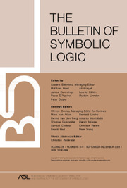 Bulletin of Symbolic Logic Volume 26 - Issue 3-4 -