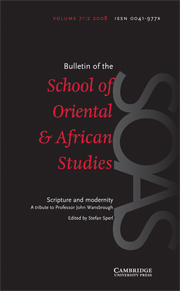 Bulletin of the School of Oriental and African Studies Volume 71 - Issue 2 -