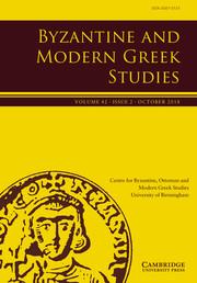 Byzantine and Modern Greek Studies Volume 42 - Issue 2 -