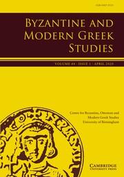 Byzantine and Modern Greek Studies Volume 44 - Issue 1 -