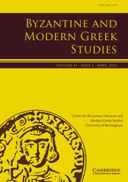 Byzantine and Modern Greek Studies Volume 45 - Issue 1 -