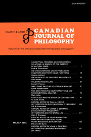 Canadian Journal of Philosophy Volume 15 - Issue 1 -