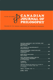 Canadian Journal of Philosophy Volume 1 - Issue 4 -