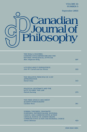Canadian Journal of Philosophy Volume 33 - Issue 3 -