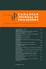 Canadian Journal of Philosophy Volume 7 - Issue 4 -
