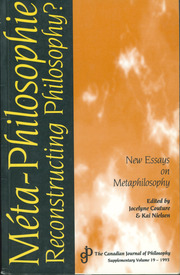 Canadian Journal of Philosophy Volume 19 - Issue  -