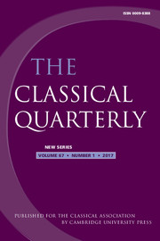 The Classical Quarterly Volume 67 - Issue 1 -
