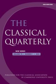 The Classical Quarterly Volume 70 - Issue 1 -