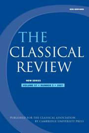 The Classical Review Volume 57 - Issue 2 -
