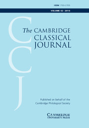 The Cambridge Classical Journal Volume 62 - Issue  -