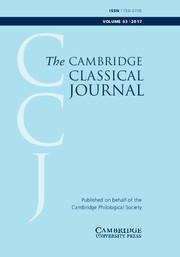 The Cambridge Classical Journal Volume 63 - Issue  -