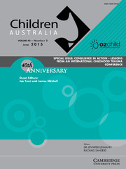 Children Australia Volume 40 - Issue 2 -  CONSILIENCE IN ACTION - LESSONS FROM AN INTERNATIONAL CHILDHOOD TRAUMA CONFERENCE