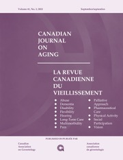 Canadian Journal on Aging / La Revue canadienne du vieillissement