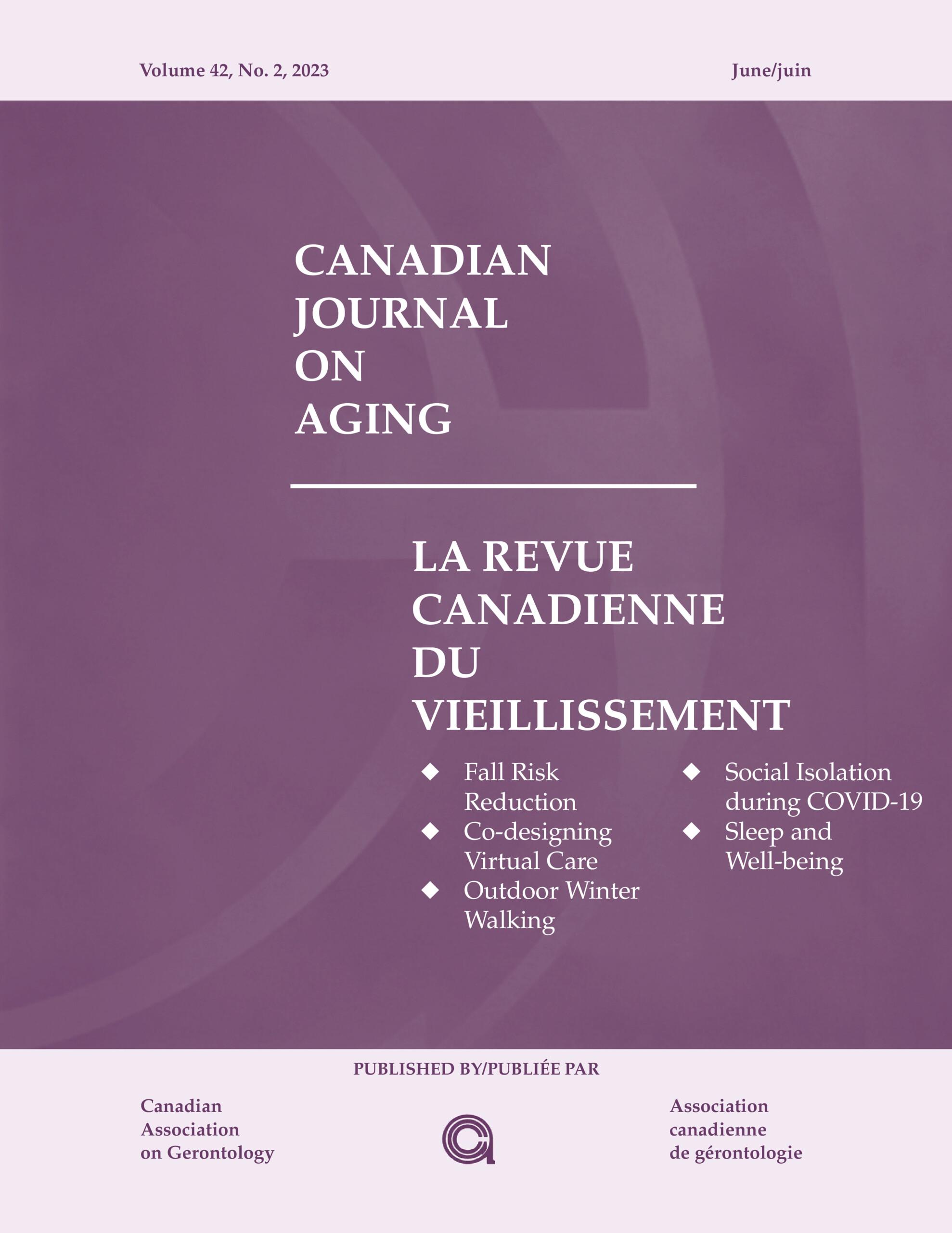 Canadian Journal On Aging La Revue Canadienne Du Vieillissement Cambridge Core