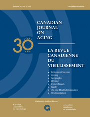 Canadian Journal on Aging / La Revue canadienne du vieillissement Volume 30 - Issue 4 -