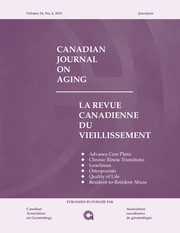 Canadian Journal on Aging / La Revue canadienne du vieillissement Volume 34 - Issue 2 -