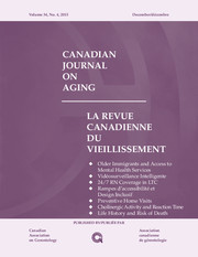 Canadian Journal on Aging / La Revue canadienne du vieillissement Volume 34 - Issue 4 -