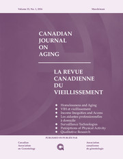 Canadian Journal on Aging / La Revue canadienne du vieillissement Volume 35 - Issue 1 -