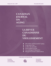 Canadian Journal on Aging / La Revue canadienne du vieillissement Volume 36 - Issue 4 -