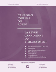 Canadian Journal on Aging / La Revue canadienne du vieillissement Volume 38 - Issue 3 -