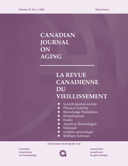 Canadian Journal on Aging / La Revue canadienne du vieillissement Volume 39 - Issue 1 -