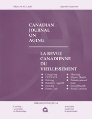 Canadian Journal on Aging / La Revue canadienne du vieillissement Volume 39 - Issue 3 -