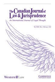Canadian Journal of Law & Jurisprudence Volume 31 - Issue 1 -