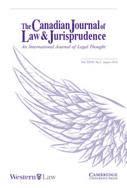 Canadian Journal of Law & Jurisprudence Volume 31 - Issue 2 -